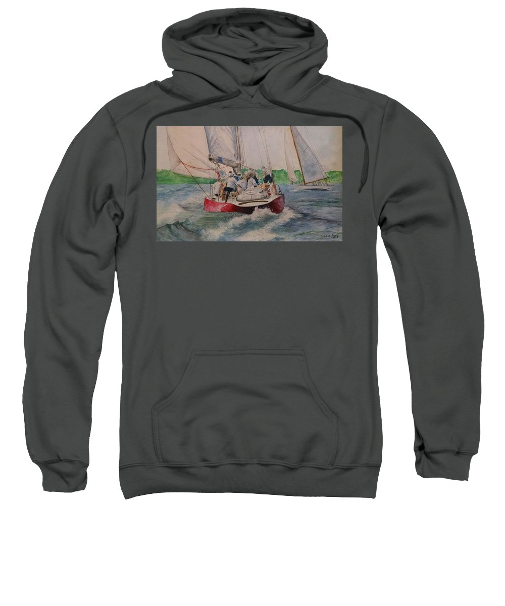 Sailing Sweatshirt featuring the painting Sailing Teamwork by Denise Beaulieu