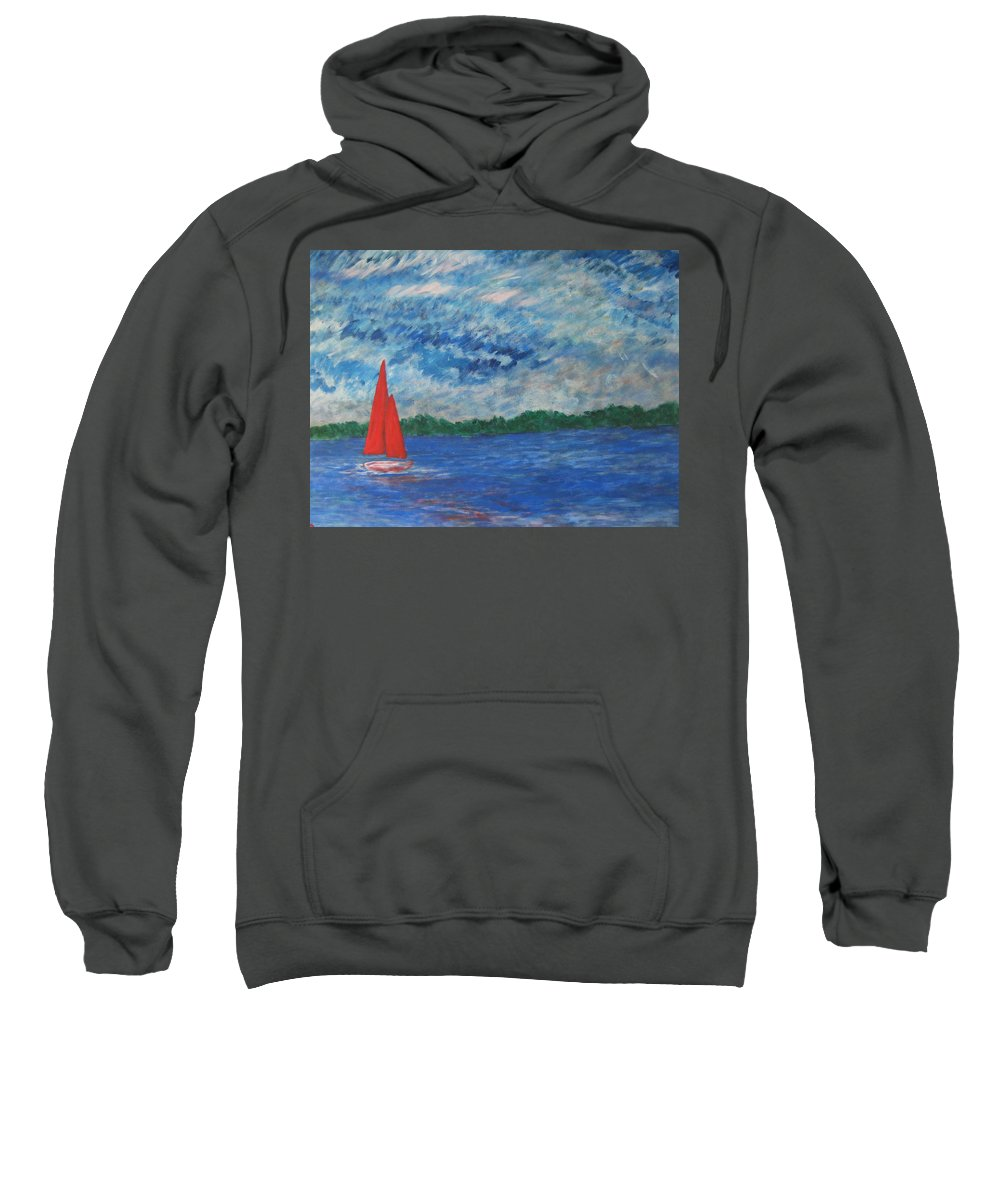 Red Sweatshirt featuring the painting Sailing The Wind by John Scates
