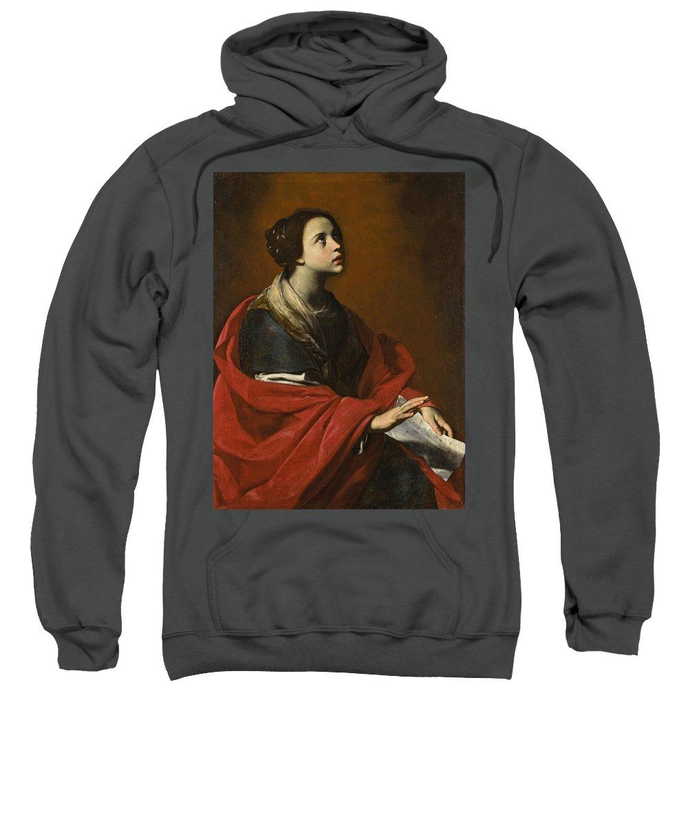 Massimo Stanzione Sweatshirt featuring the painting Saint Cecilia by Massimo Stanzione