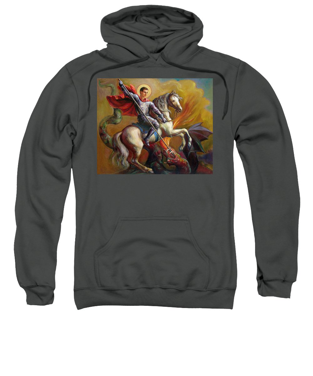 Saint George Sweatshirt featuring the painting Saint George And The Dragon by Svitozar Nenyuk