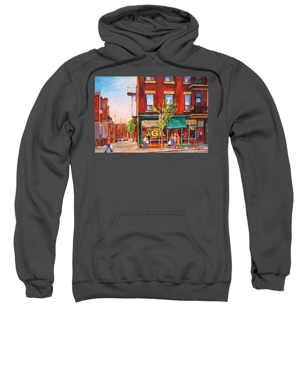 Montreal Sweatshirt featuring the painting Saint Viateur Bagel by Carole Spandau