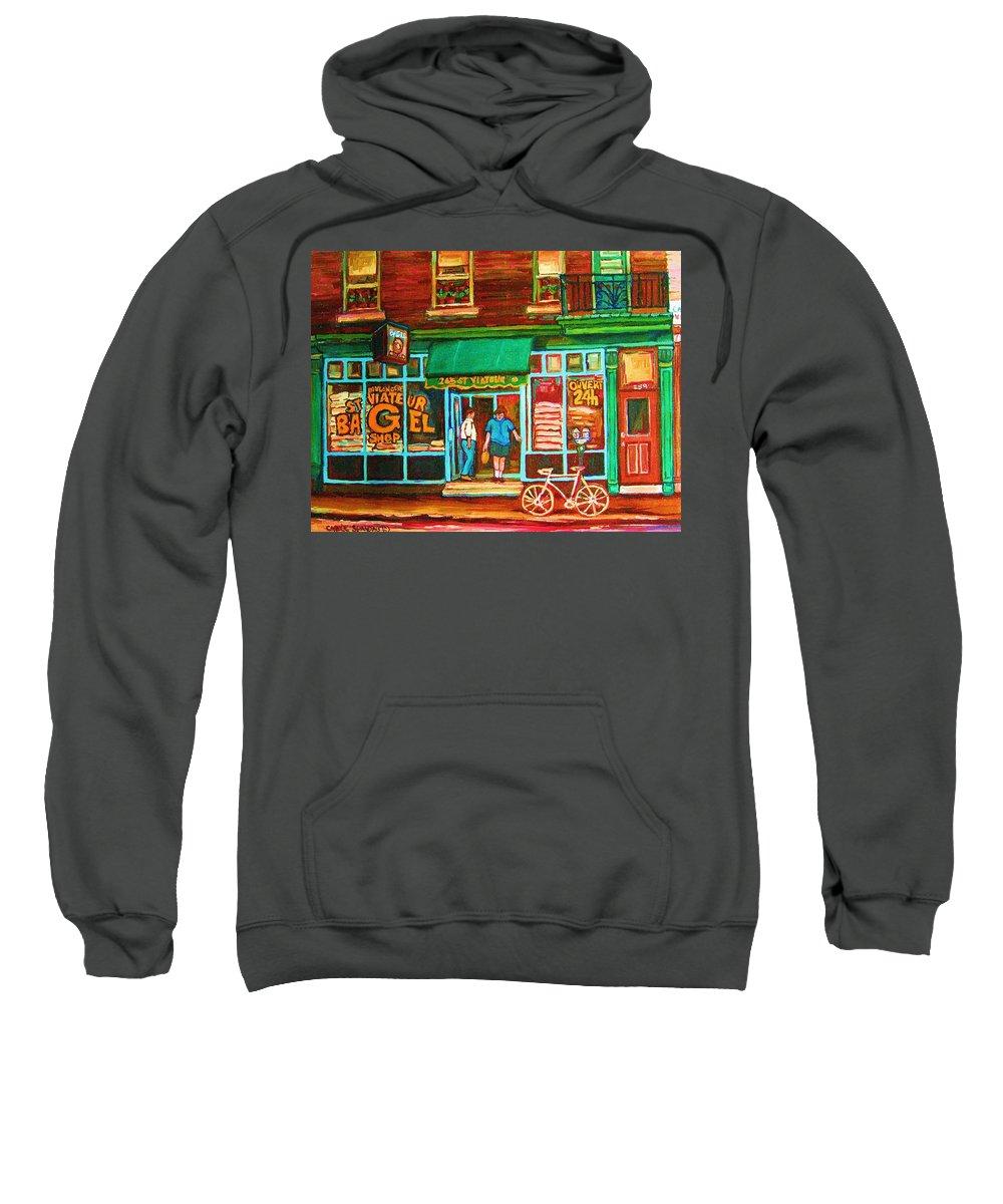 Saint Viateur Bagel Sweatshirt featuring the painting Saint Viateur Bakery by Carole Spandau