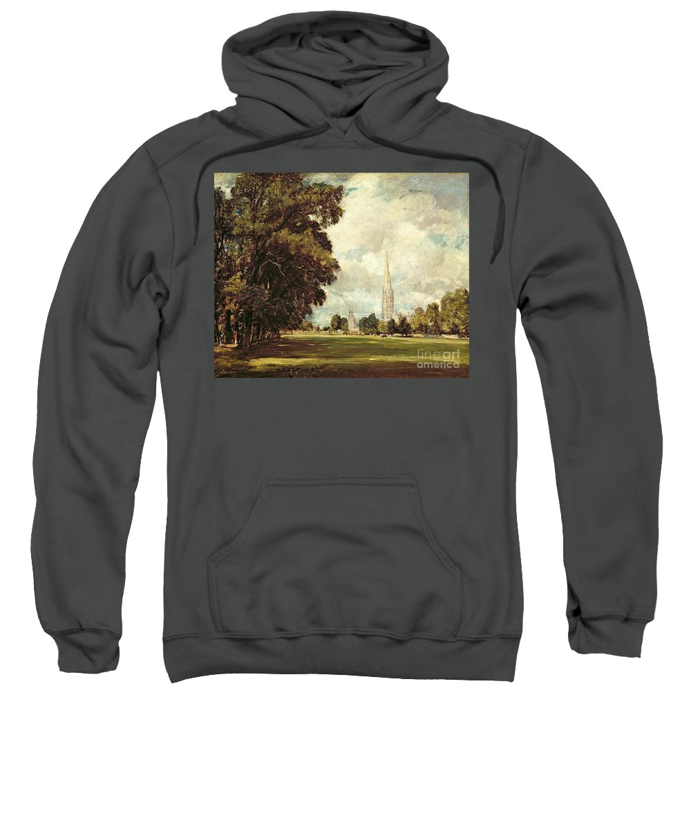 Church Sweatshirt featuring the painting Salisbury Cathedral From Lower Marsh Close by John Constable