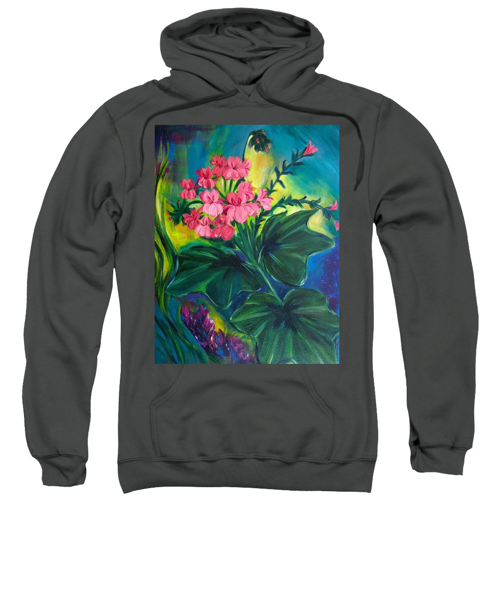 Floral Sweatshirt featuring the painting Salmon Pink Geraniums by Jennifer Christenson