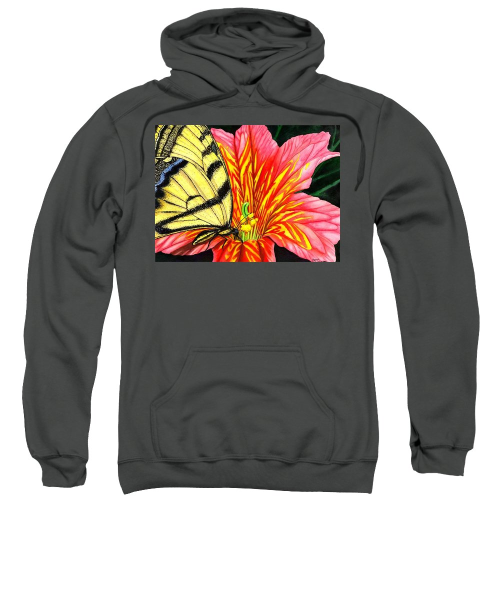 Salpiglossis Sweatshirt featuring the painting Salpliglossis by Catherine G McElroy