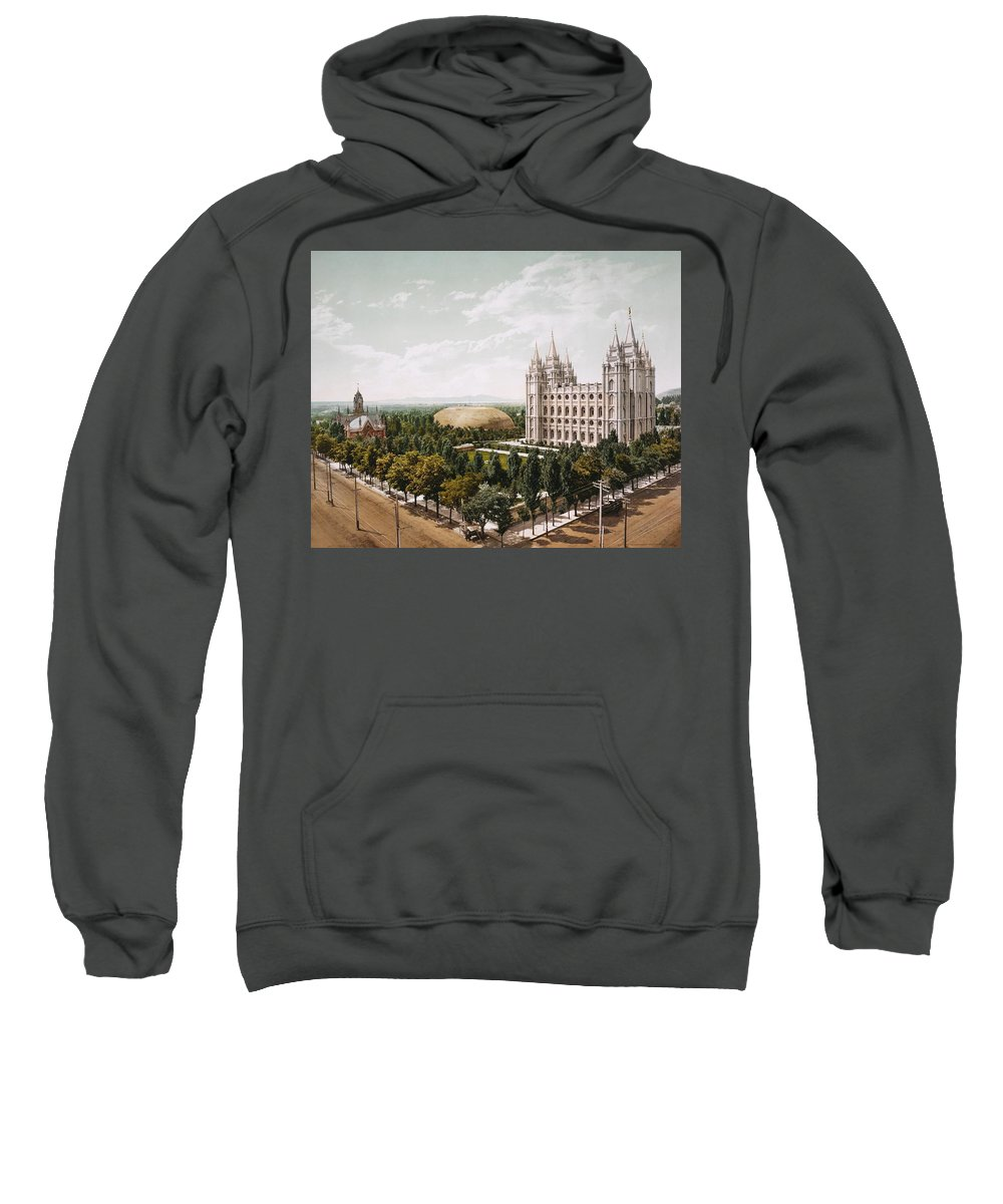 Temple-square-church-salt-lake-city Sweatshirt featuring the painting Salt Lake City by MotionAge Designs