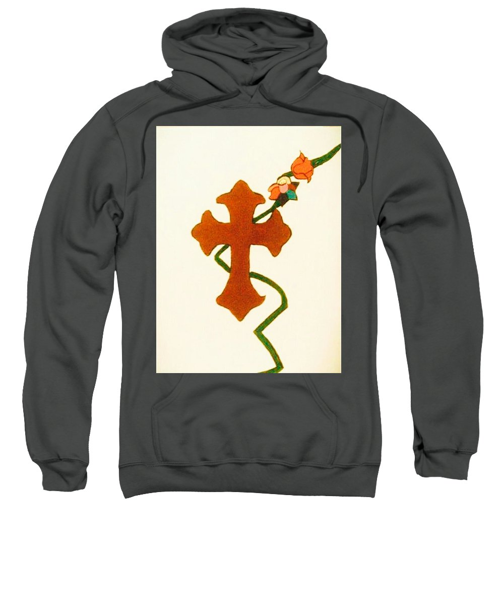Rose Red Vine Green Cross Glitter Multicolor Flower Salvation Faith White Brown Sienna Sweatshirt featuring the painting Salvation by Kathy Watson