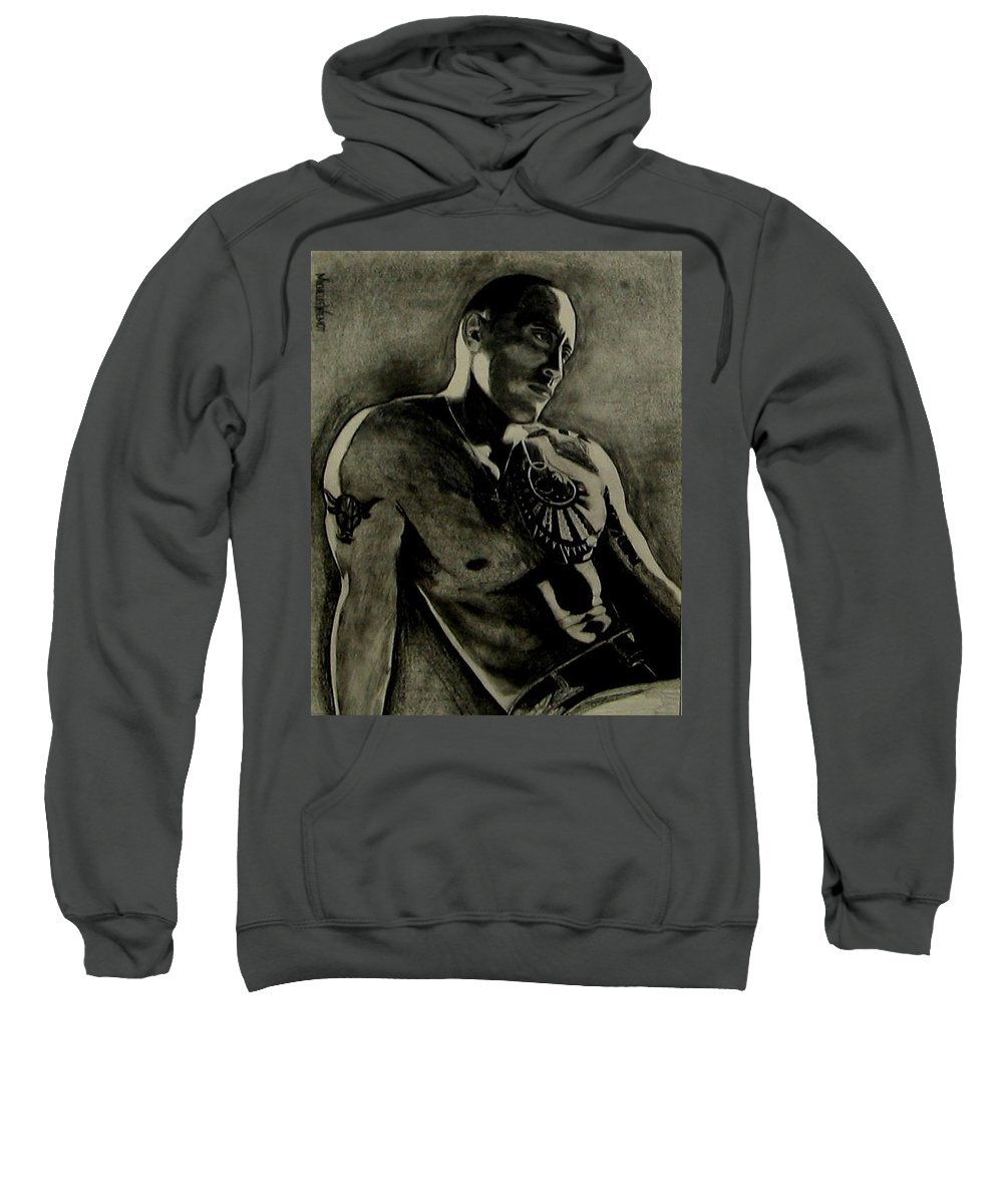 The Rock Sweatshirt featuring the drawing Samoan Idol by Michelle Dallocchio