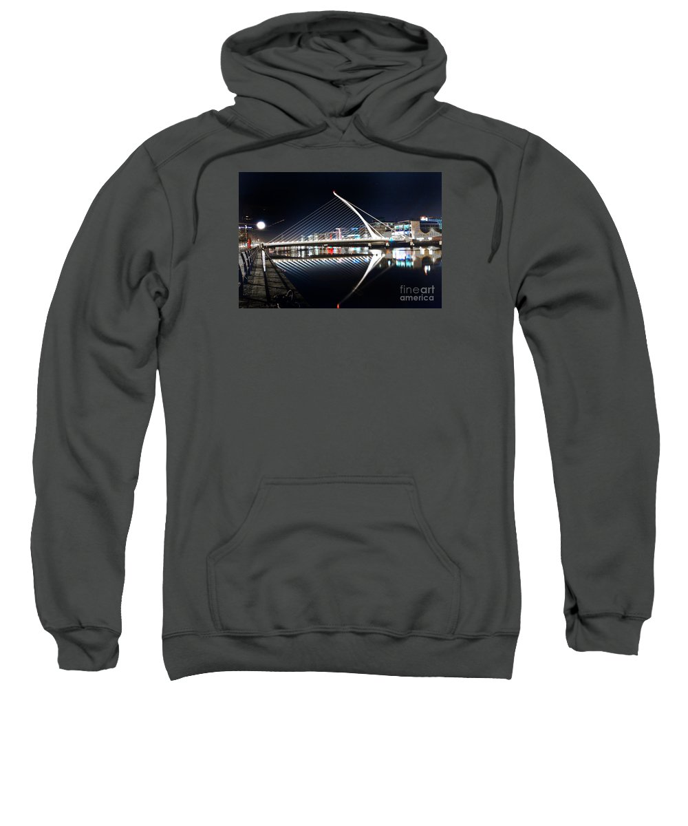 The Convention Centre Reflection Sweatshirt featuring the photograph Samuel Beckett Bridge 3 V2 by Alex Art and Photo