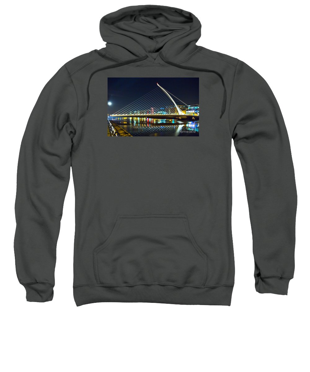 Samuel Beckett Bridge Sweatshirt featuring the photograph Samuel Beckett Bridge 4 by Alex Art and Photo
