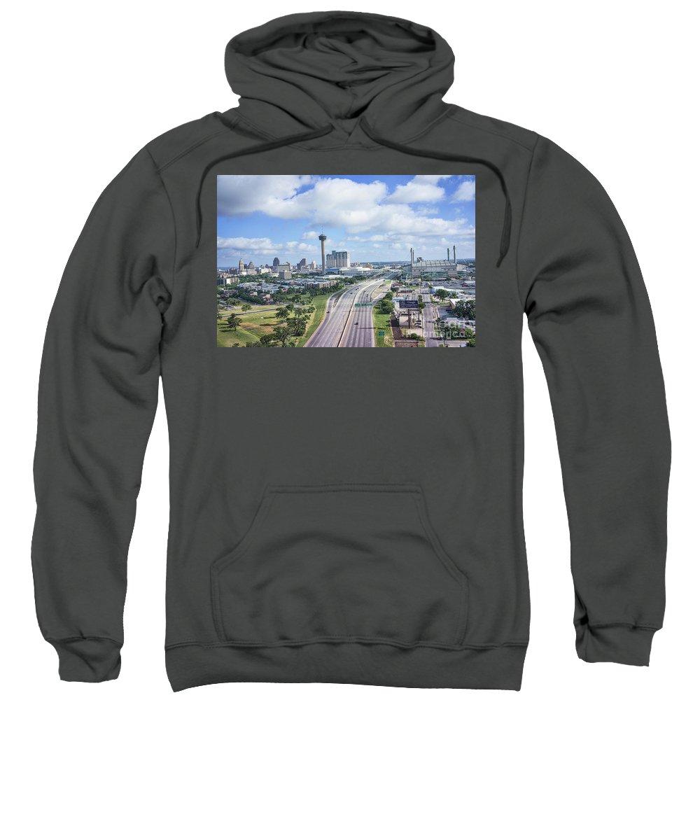 San Antonio Sweatshirt featuring the photograph San Antonio City View -color Canvas Print by Tod and Cynthia Grubbs