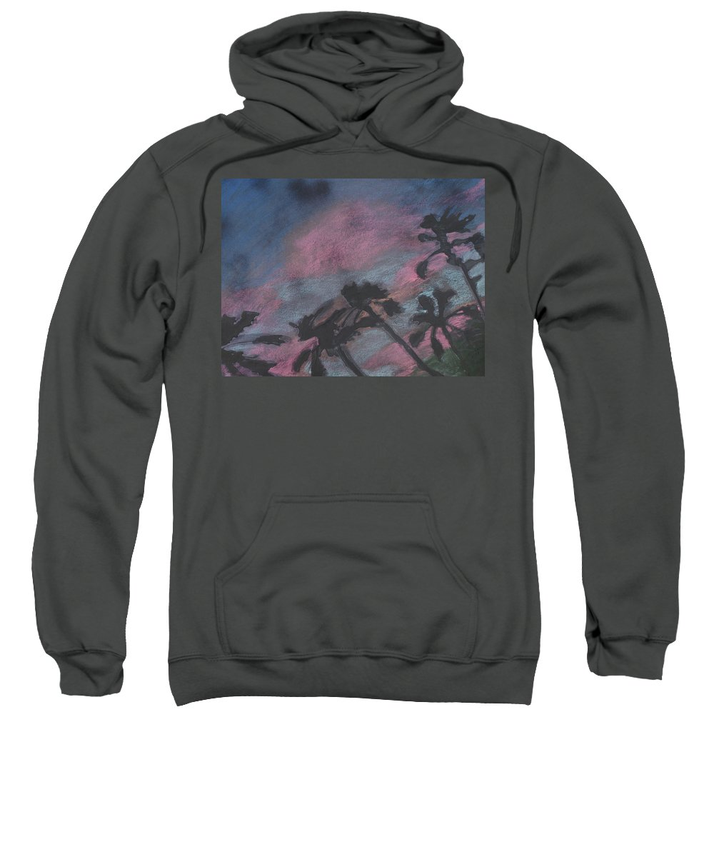 Contemporary Tree Landscapes Sweatshirt featuring the drawing San Diego Palms by Leah Tomaino