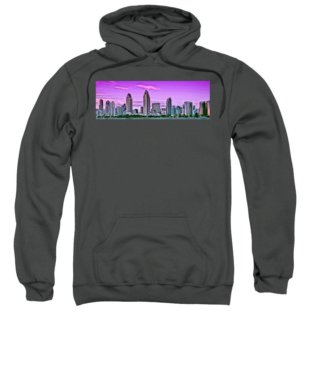 San Diego Sweatshirt featuring the photograph San Diego Panorama by DJ Florek