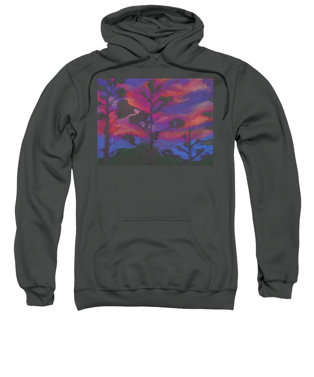 Contemporary Tree Landscape Sweatshirt featuring the mixed media San Diego Sunset by Leah Tomaino