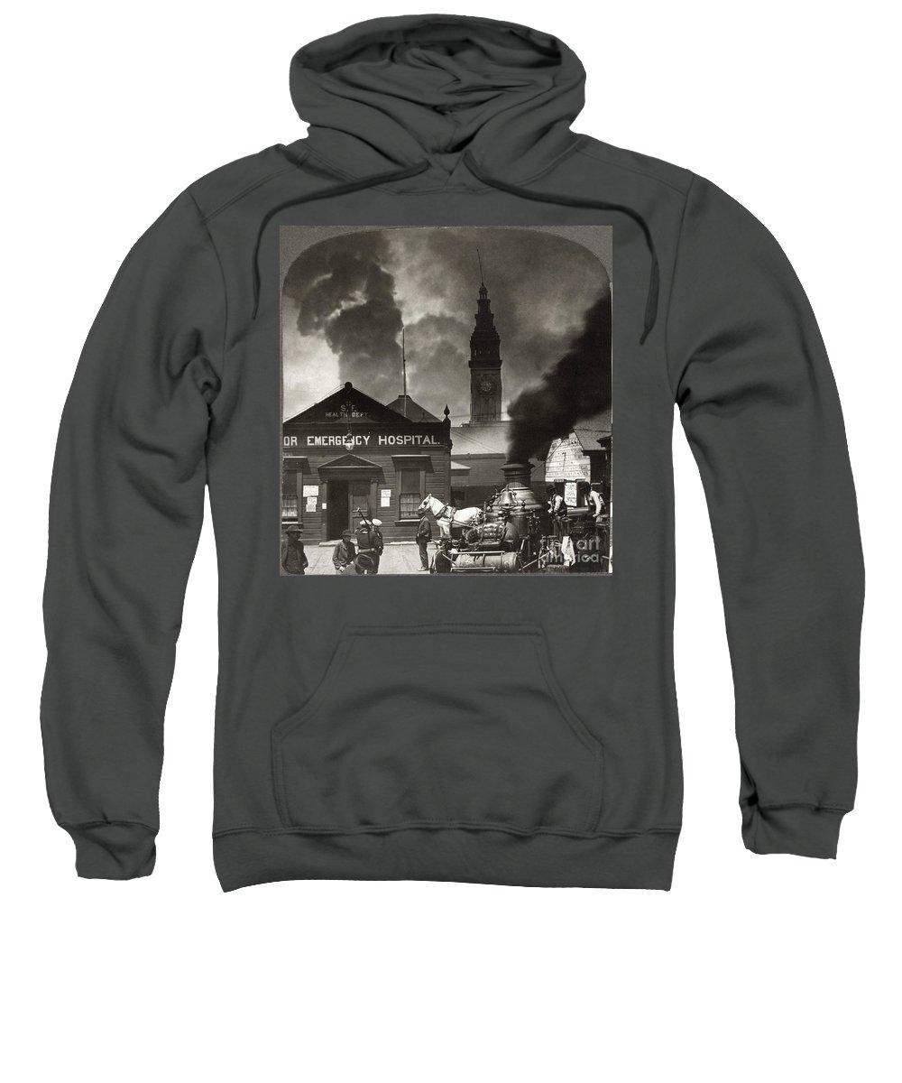 1906 Sweatshirt featuring the photograph San Francisco Earthquake by Granger