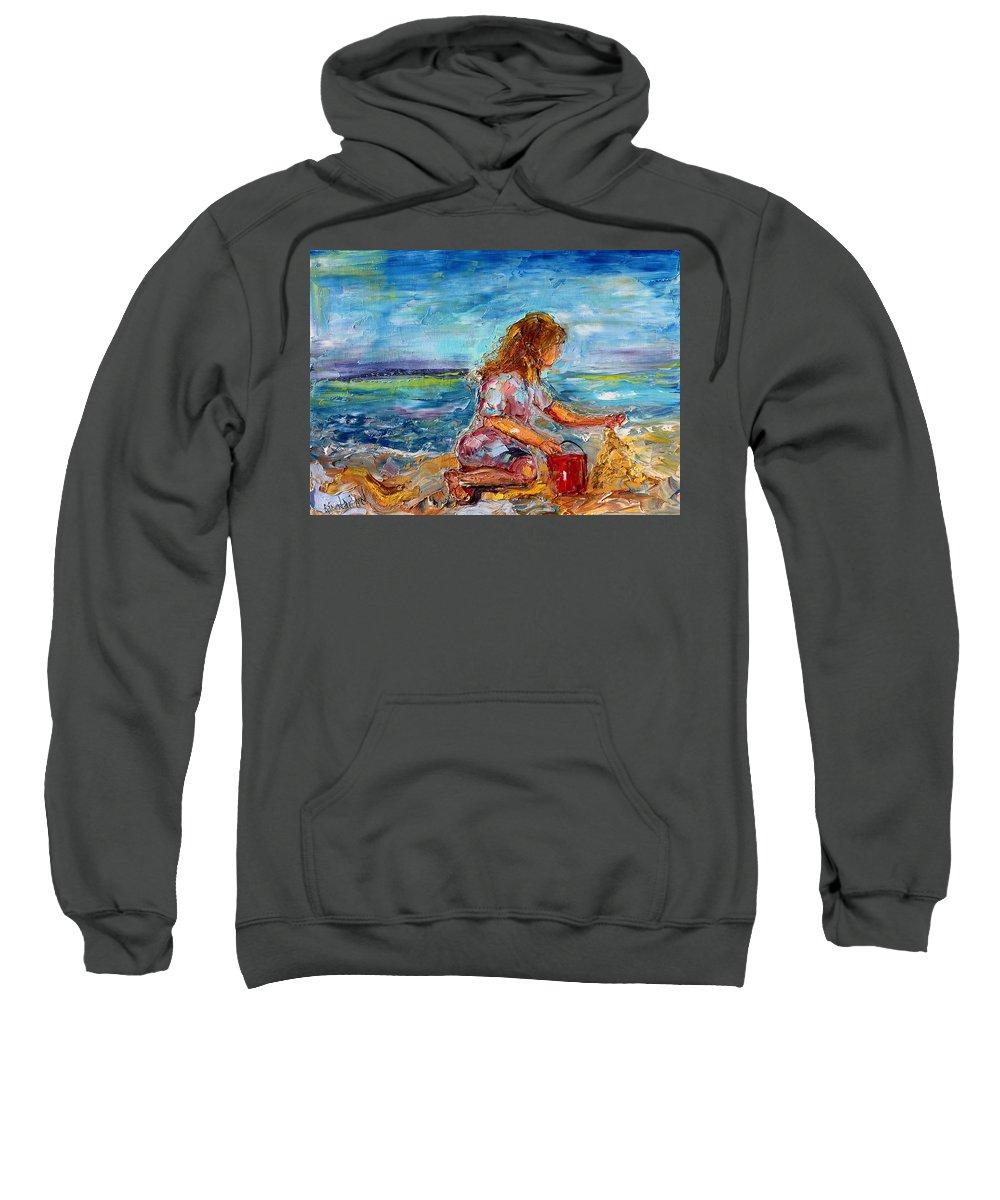 Beach Sweatshirt featuring the painting Sandcastles by Karen Tarlton