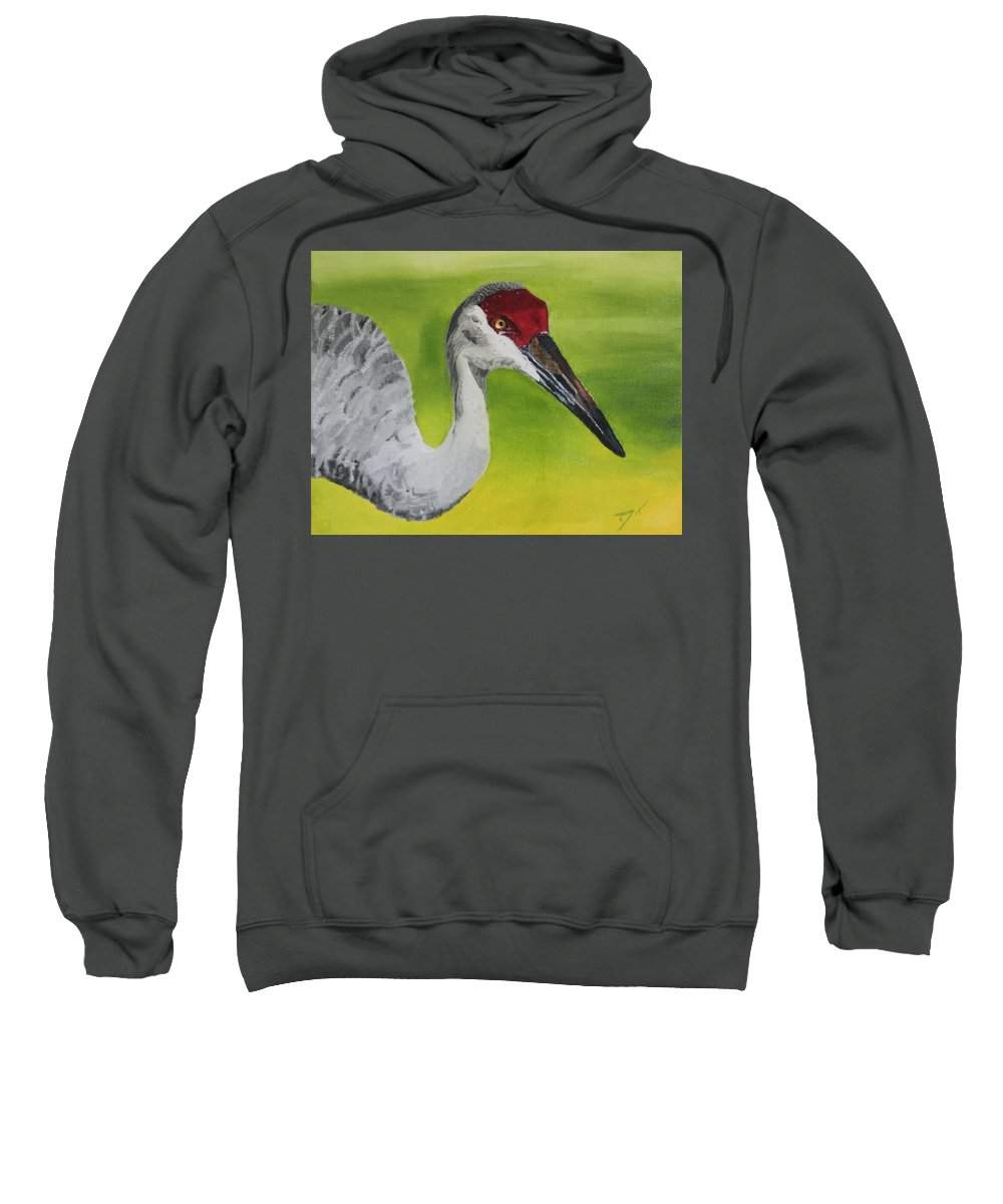 Bird Sweatshirt featuring the painting Sandhill Crane by D Turner