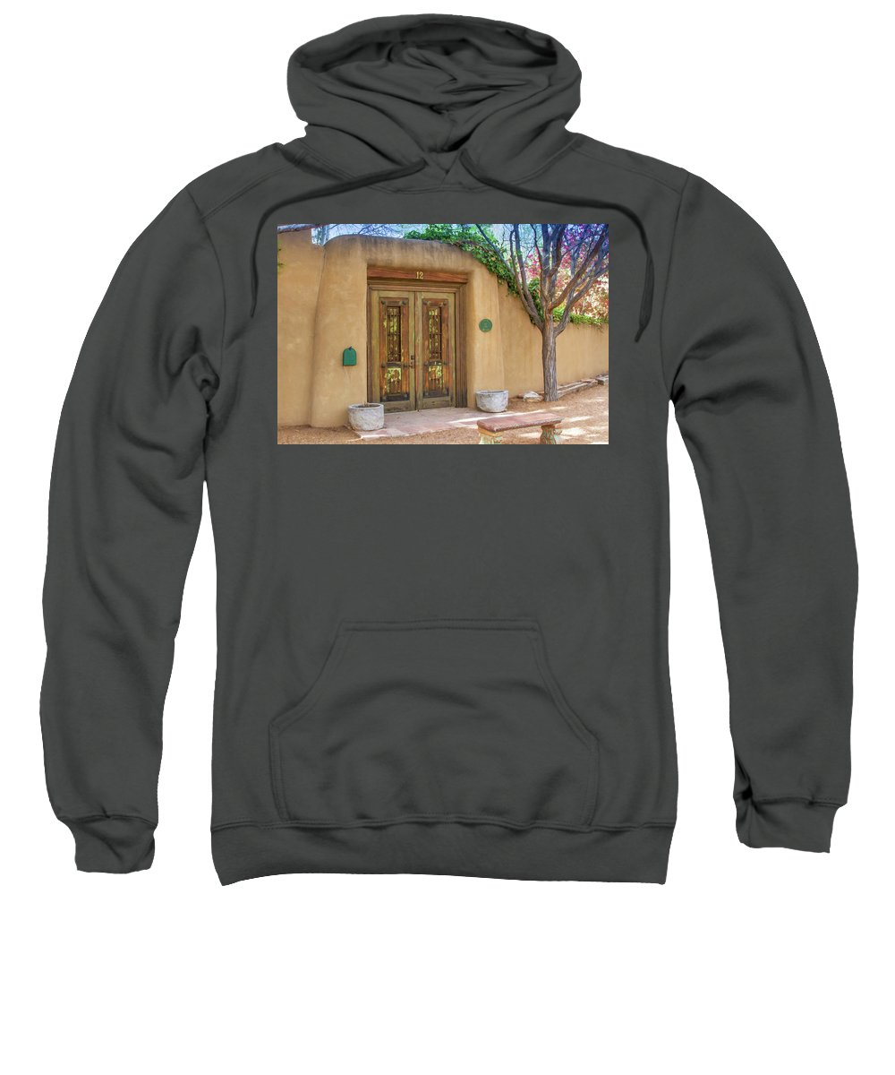 Adobe Home Sweatshirt featuring the photograph Santa Fe Adobe Front by Jack Zievis