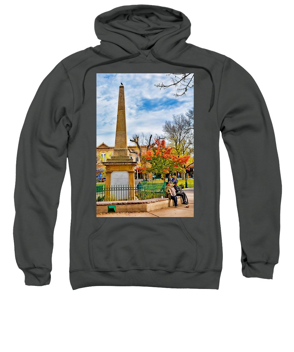 Santa Fe Sweatshirt featuring the photograph Santa Fe Obelisk A Pigeon And An Accordian Player by Robert Meyers-Lussier
