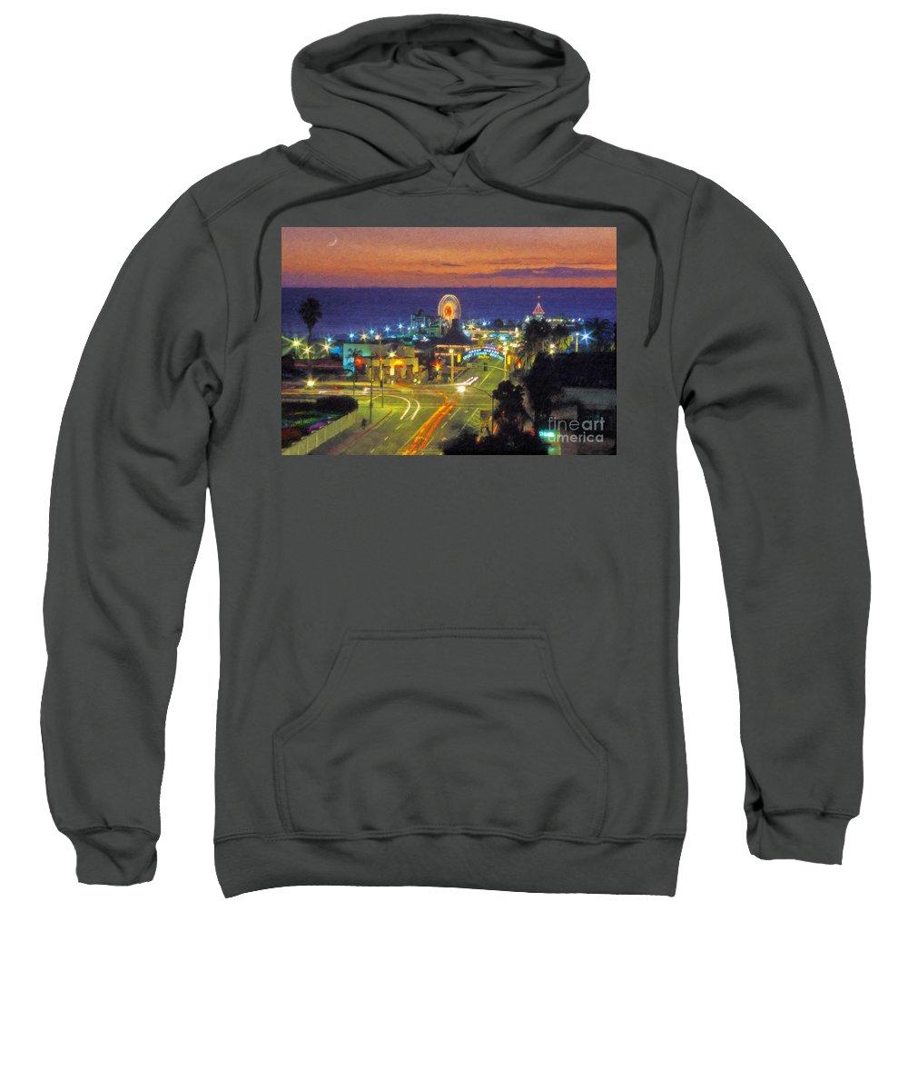 Santa Monica Sweatshirt featuring the photograph Santa Monica Ca Pacific Park Pier by David Zanzinger