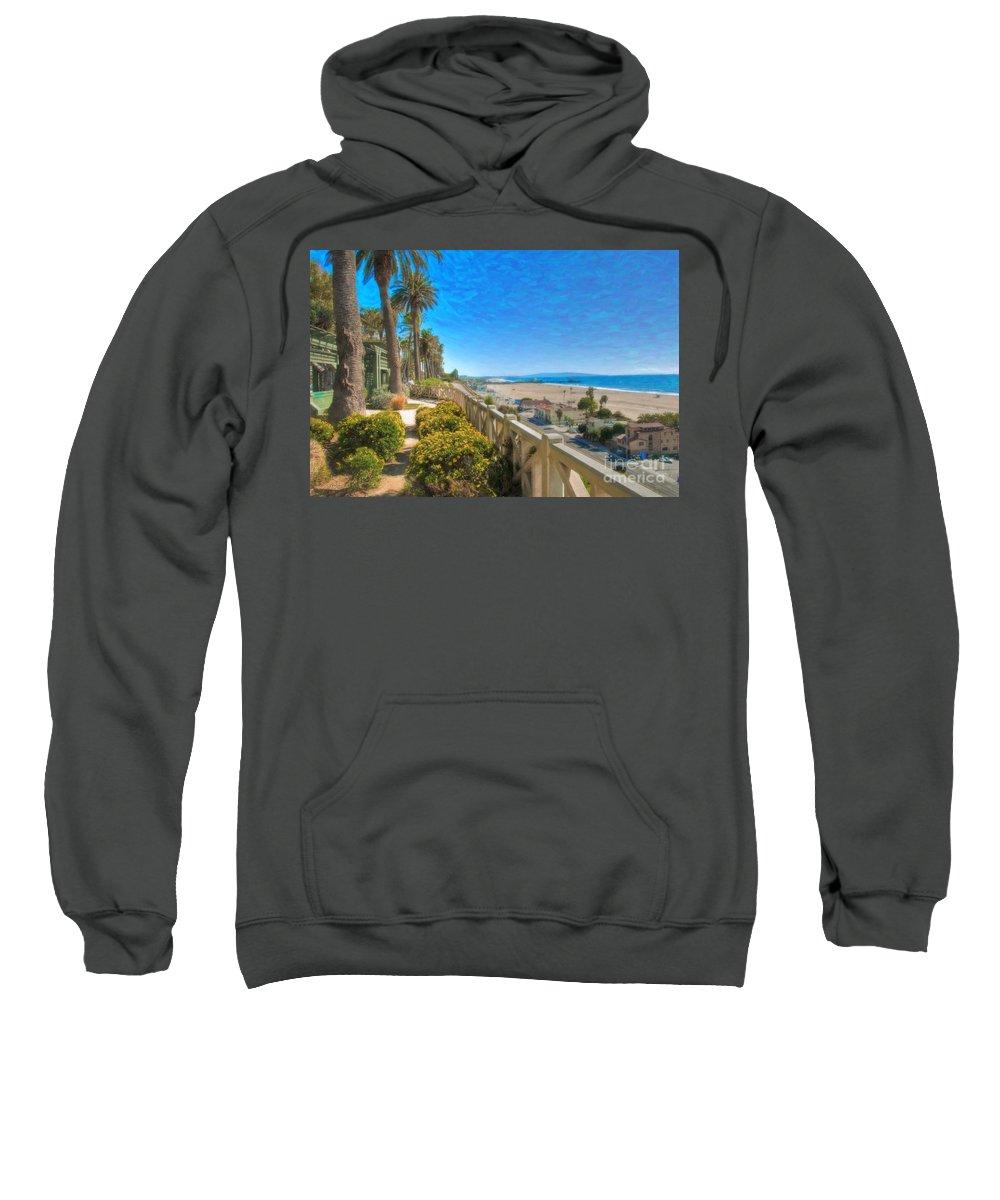 Santa Monica Sweatshirt featuring the photograph Santa Monica Ca Palisades Park Bluffs Gold Coast Luxury Houses by David Zanzinger