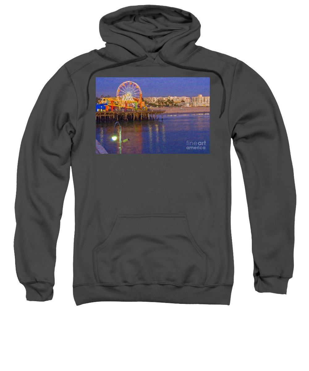 Santa Monica Sweatshirt featuring the photograph Santa Monica Pacific Park Pier And Lowes Hotel by David Zanzinger