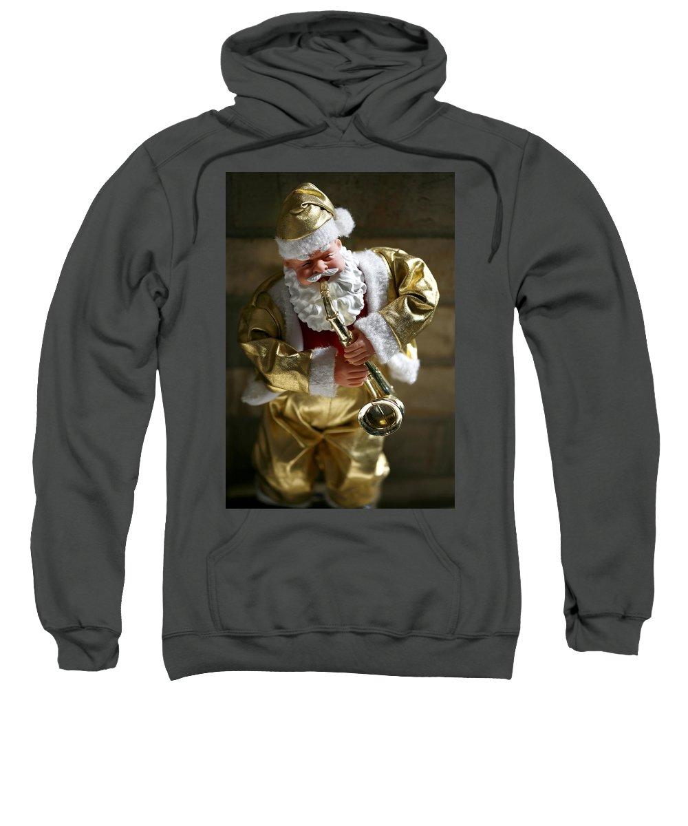Americana Sweatshirt featuring the photograph Santa Playing The Saxaphone by Marilyn Hunt