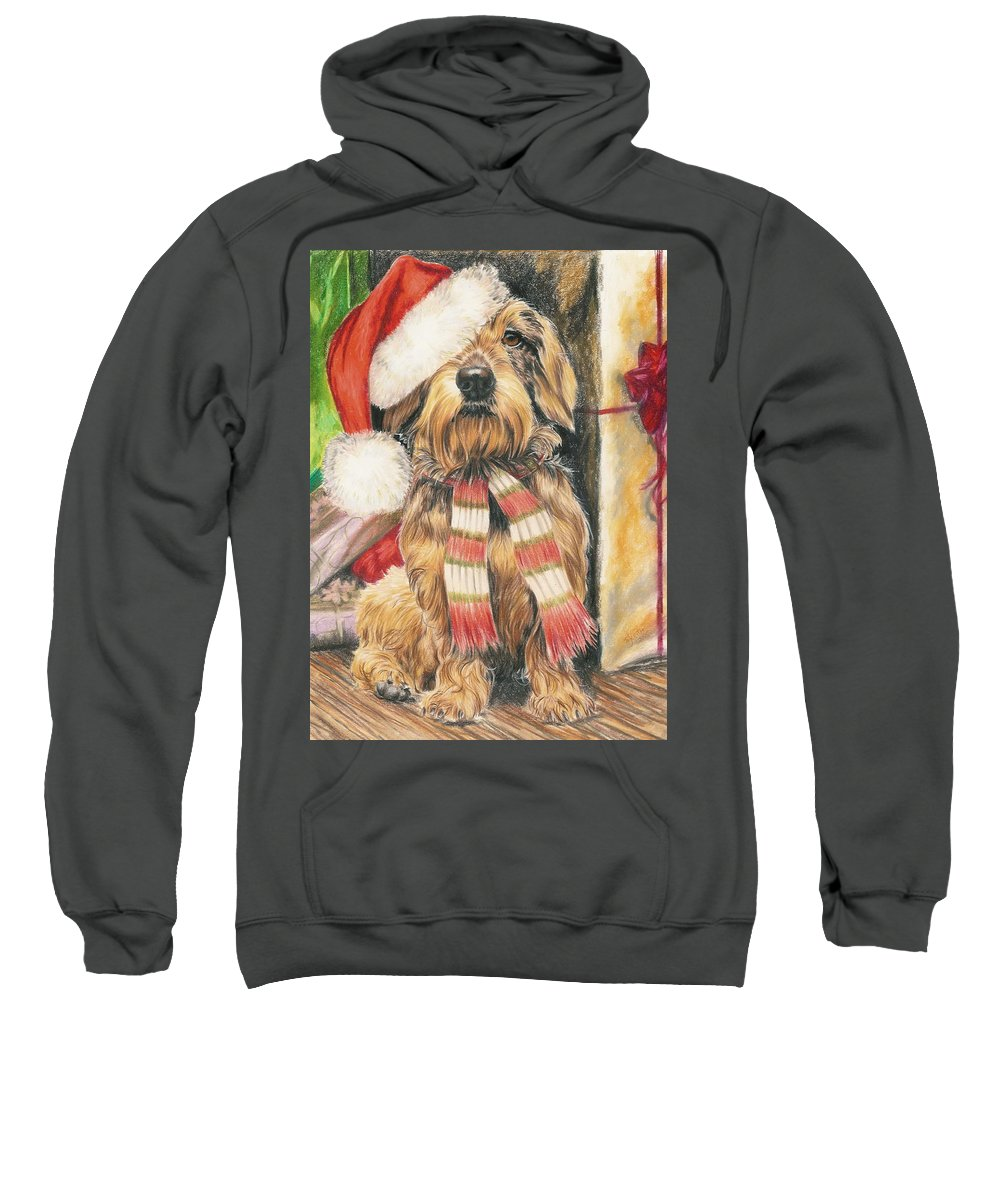 Hound Group Sweatshirt featuring the drawing Santas Little Yelper by Barbara Keith
