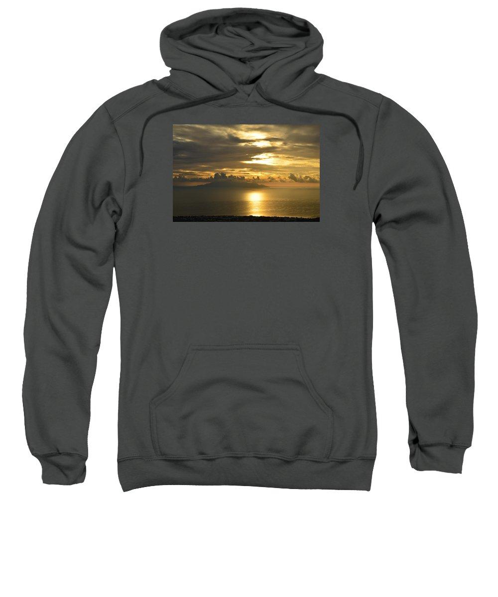 Santorini Sweatshirt featuring the photograph Santorini. Sunlight by Thiras art