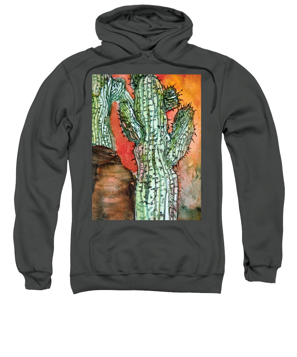 Cactus Sweatshirt featuring the painting Saquaros by Mindy Newman