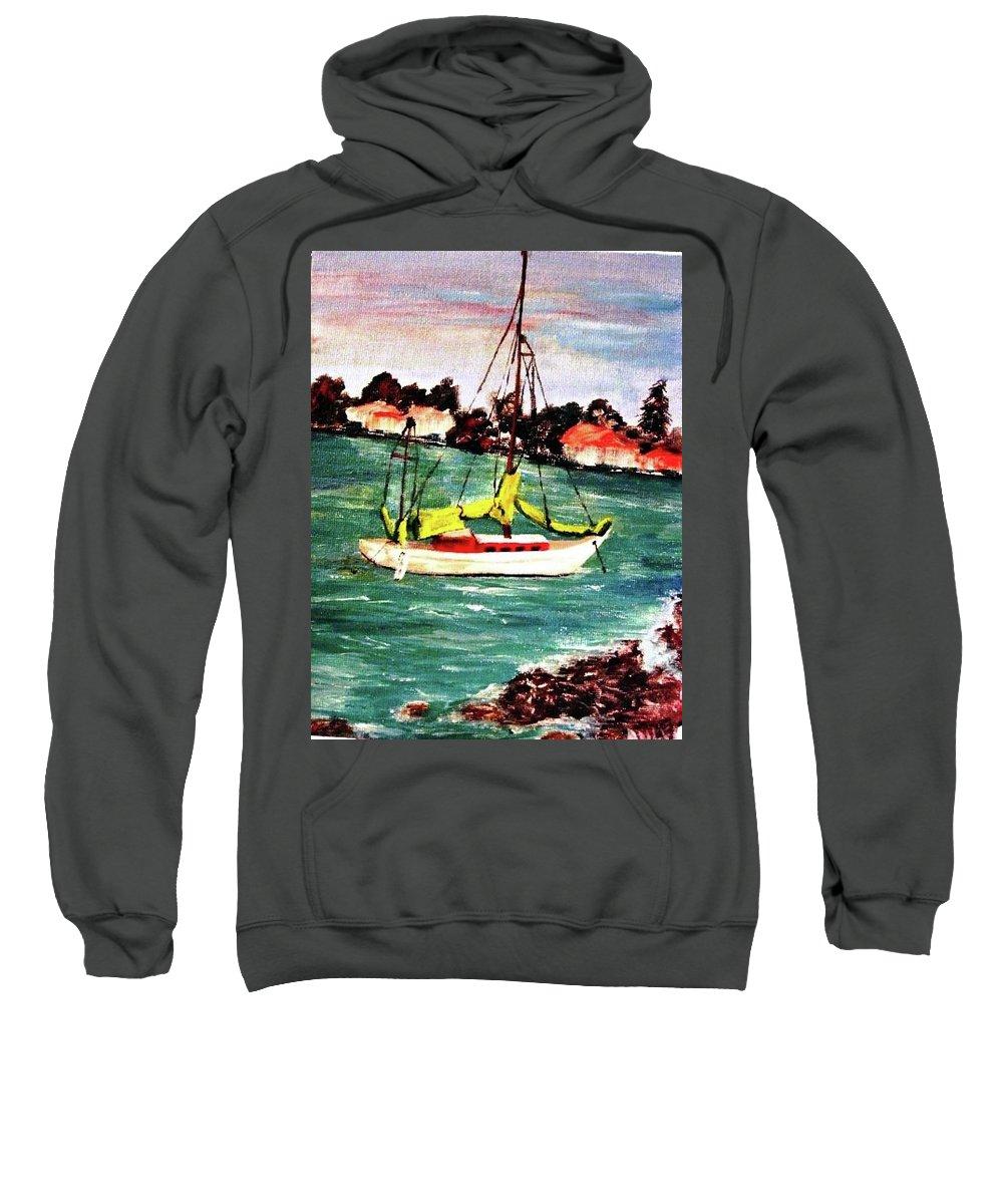 Acrylic Sweatshirt featuring the painting Sarasota Bay Sailboat by Angela Murray