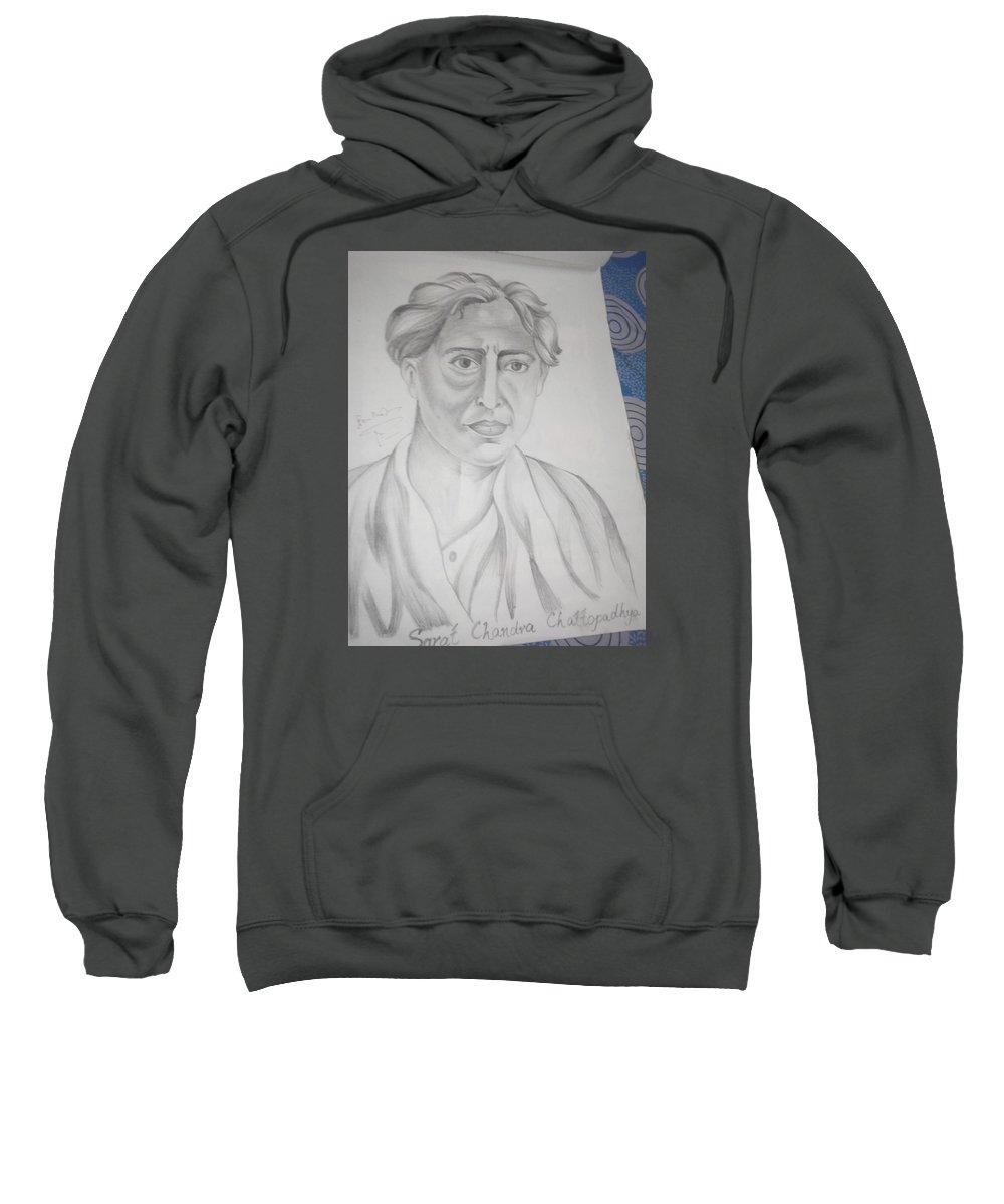 Portrait Of Sarat Chandra Chattopadhyay Sweatshirt featuring the drawing Sarat Chandra Chattopadhyay by Ghazala Yasmeen