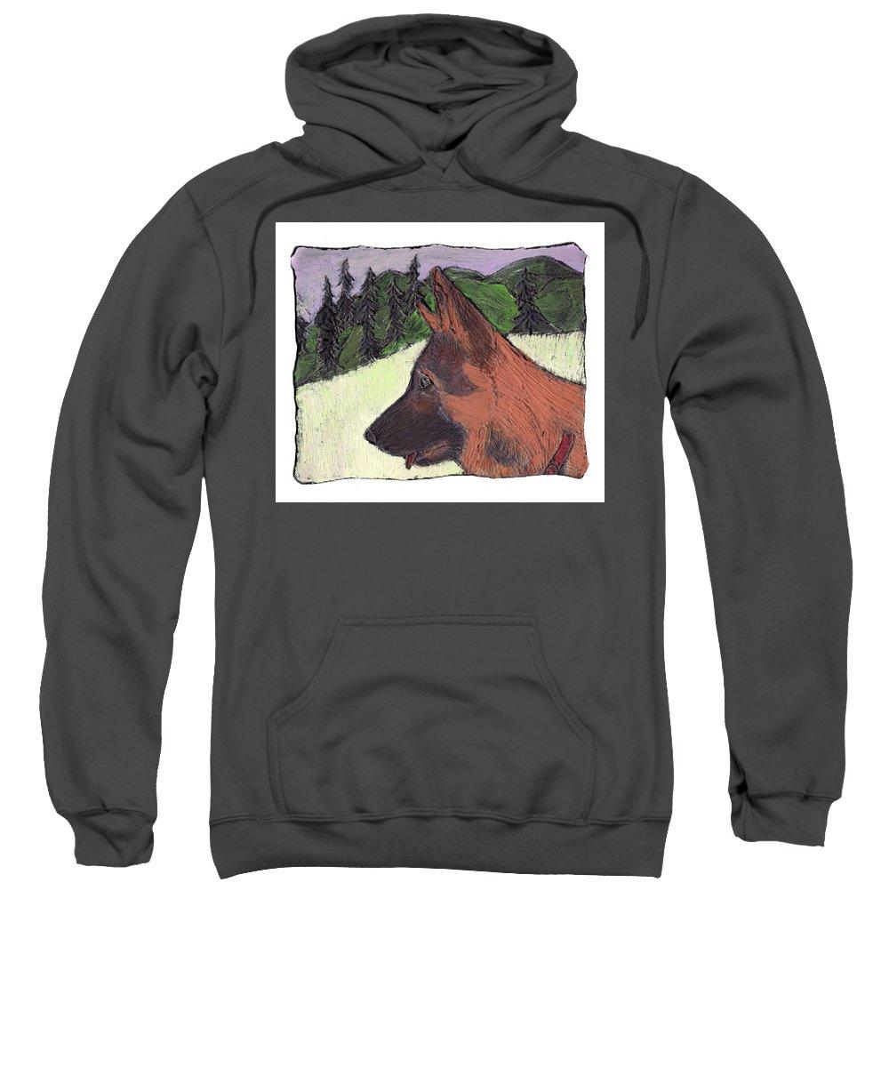 Dog Sweatshirt featuring the painting Sarge by Wayne Potrafka