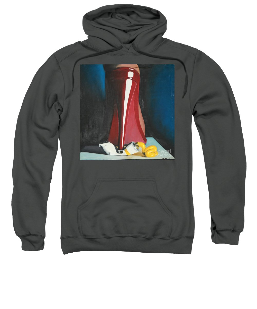 Sassy Shoe Sweatshirt featuring the painting Sassy Shoe by Jacqueline Athmann
