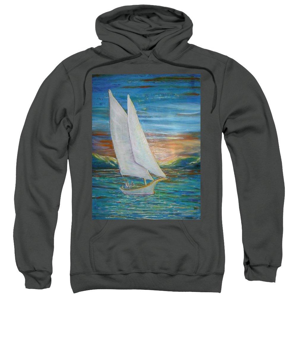Sailboat Sweatshirt featuring the painting Saturday Sail by Regina Walsh