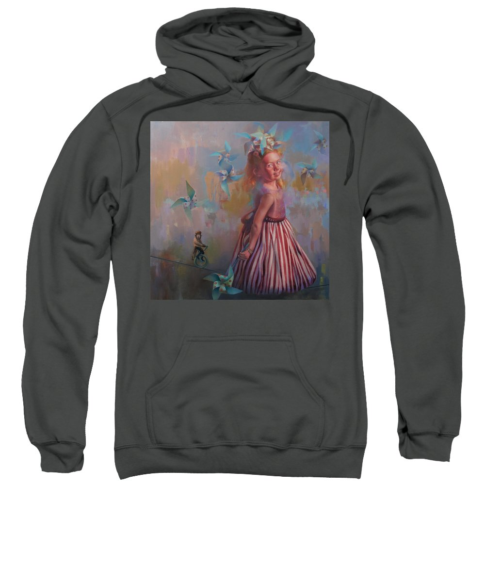 Figurative Sweatshirt featuring the painting Savanah At Play by Cathy Locke