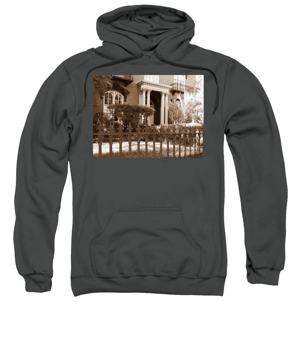 Savannah Sweatshirt featuring the photograph Savannah Sepia - Mercer House by Carol Groenen