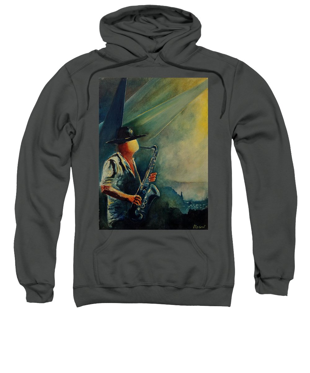 Music Sweatshirt featuring the painting Sax Player by Pol Ledent