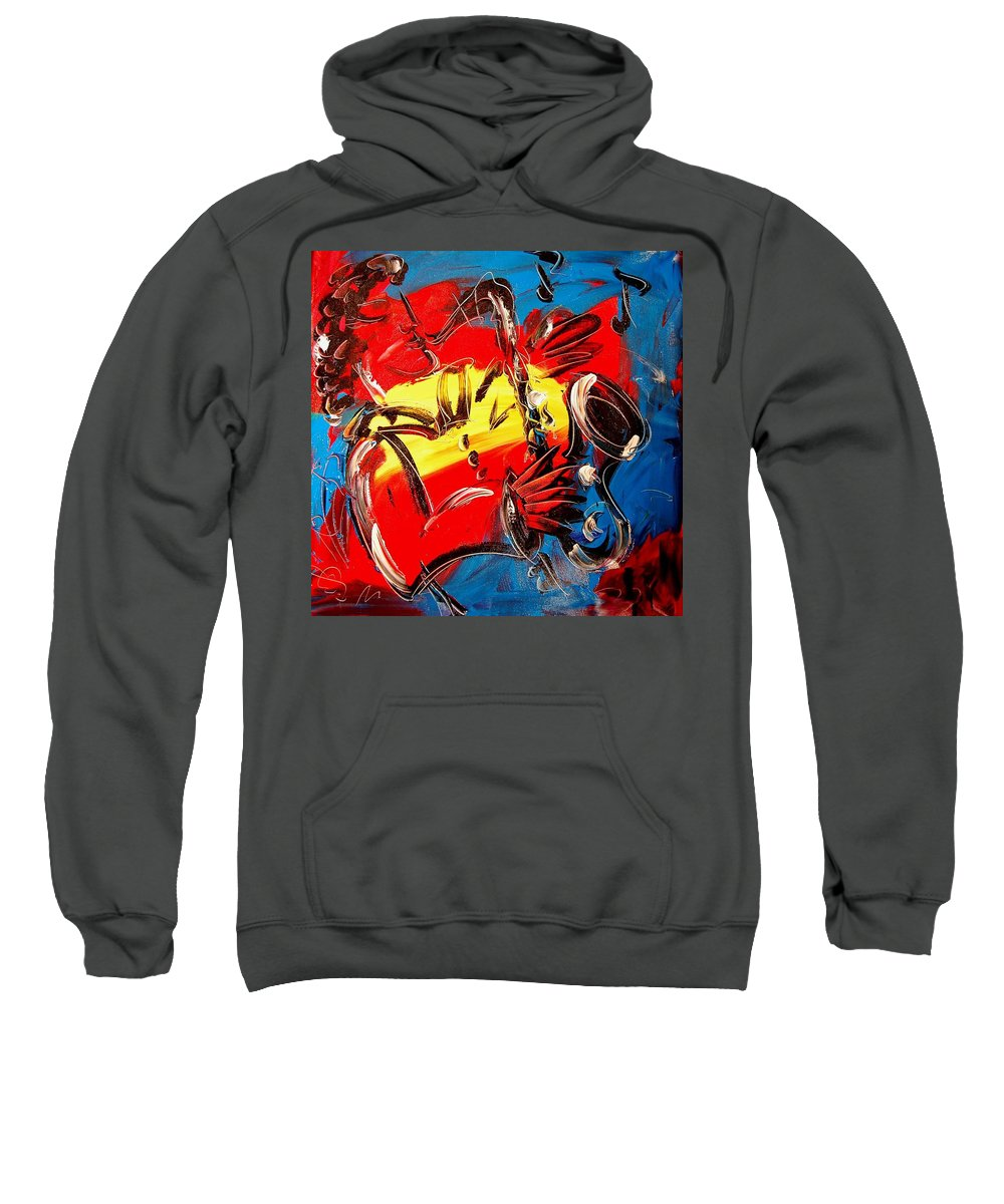Landscape Framed Prints Sweatshirt featuring the painting Saxophone Player by Mark Kazav