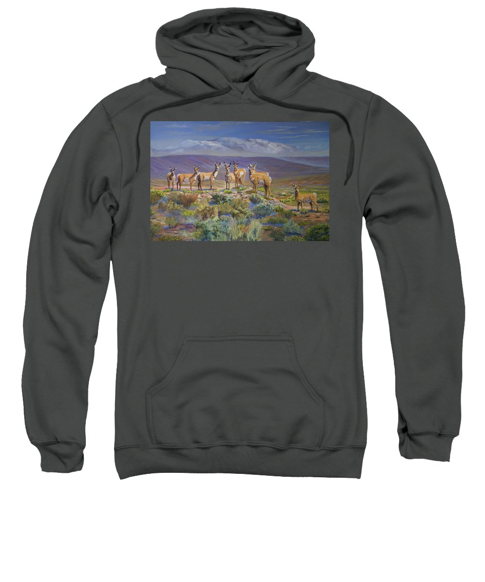 Antelope Sweatshirt featuring the painting Say Cheese Antelope by Heather Coen