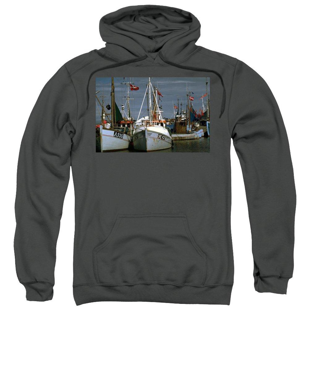 Scandinavian Sweatshirt featuring the photograph Scandinavian Fisher Boats by Flavia Westerwelle