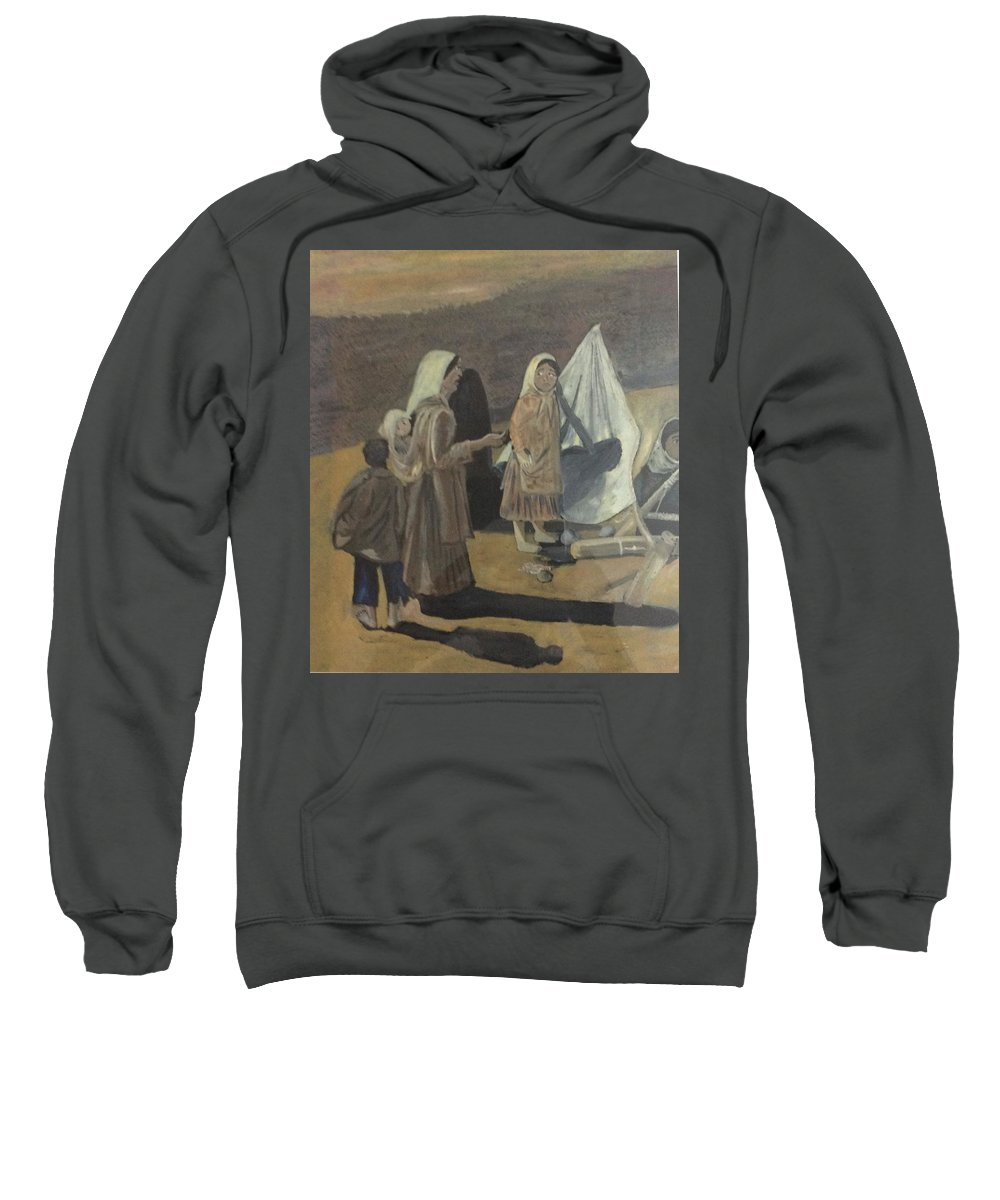 The Trio The Girls And The Boy Sweatshirt featuring the painting Scape Goat by Jayasree Anand