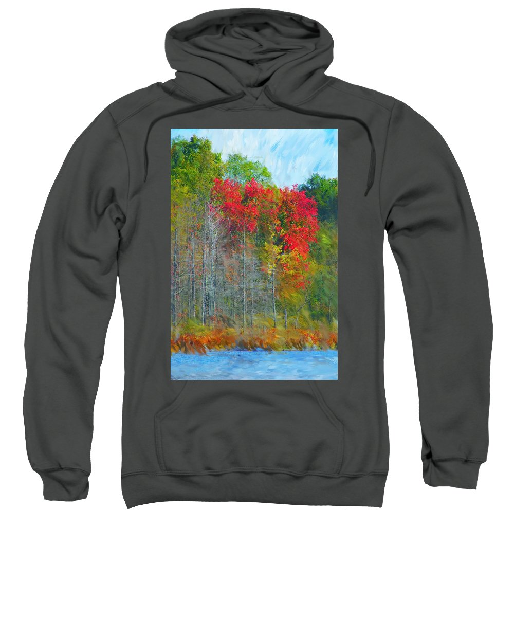 Landscape Sweatshirt featuring the digital art Scarlet Autumn Burst by David Lane