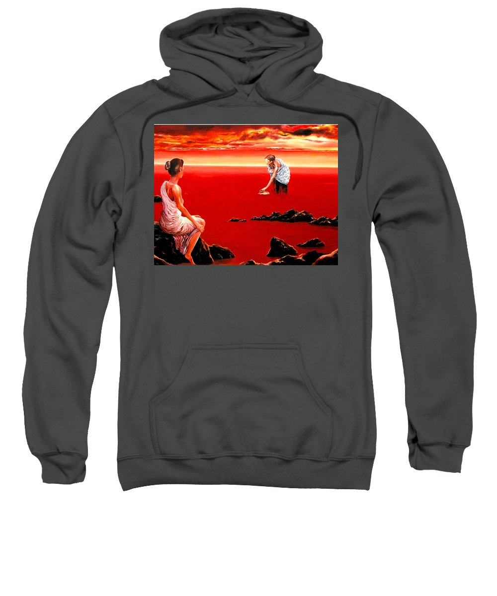 Red Sweatshirt featuring the painting Scarlet Evening In December by Mark Cawood