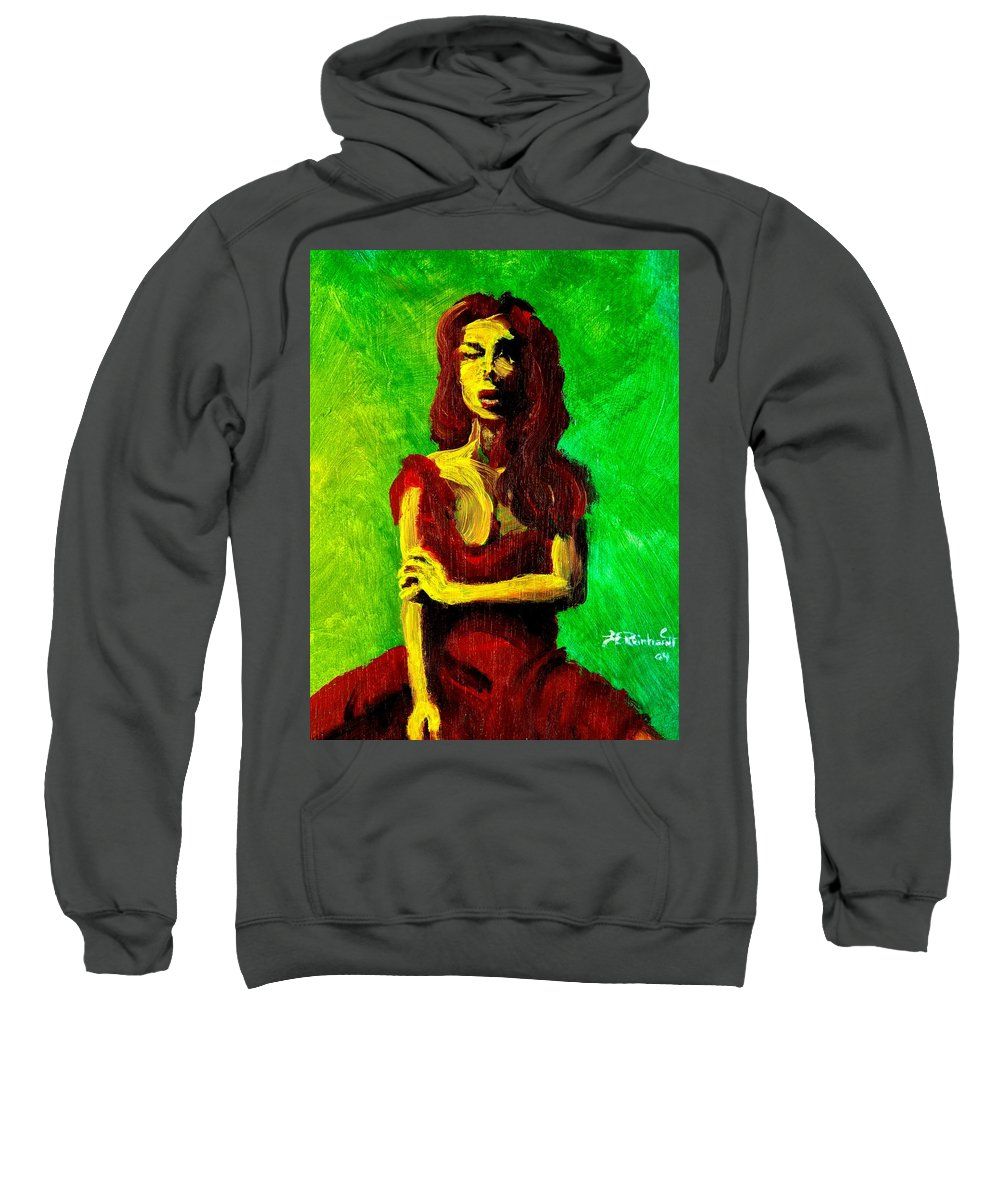 Expressionist Sweatshirt featuring the painting Scarlet by Jason Reinhardt