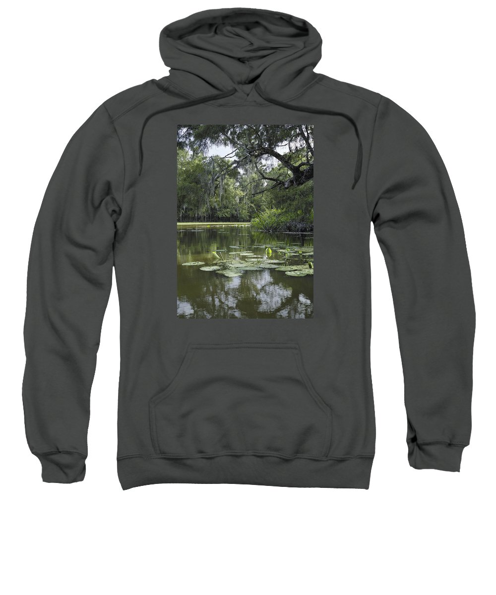 Louisiana Wetlands Sweatshirt featuring the photograph Scattered Sun On Blind River by Richard Waller