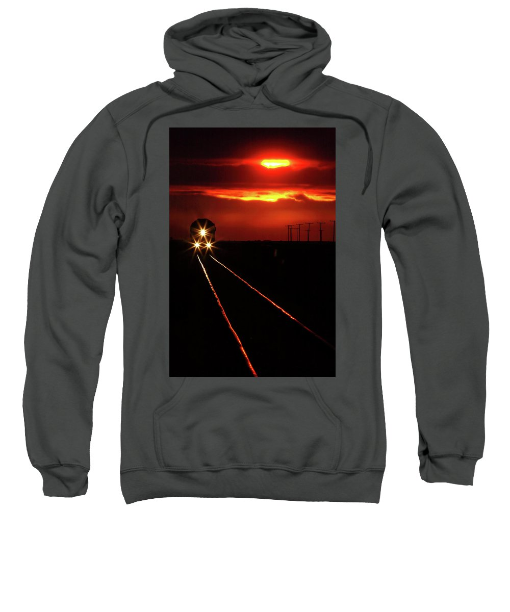 Sunset Sweatshirt featuring the digital art Scenic View Of An Approaching Trrain Near Sunset by Mark Duffy