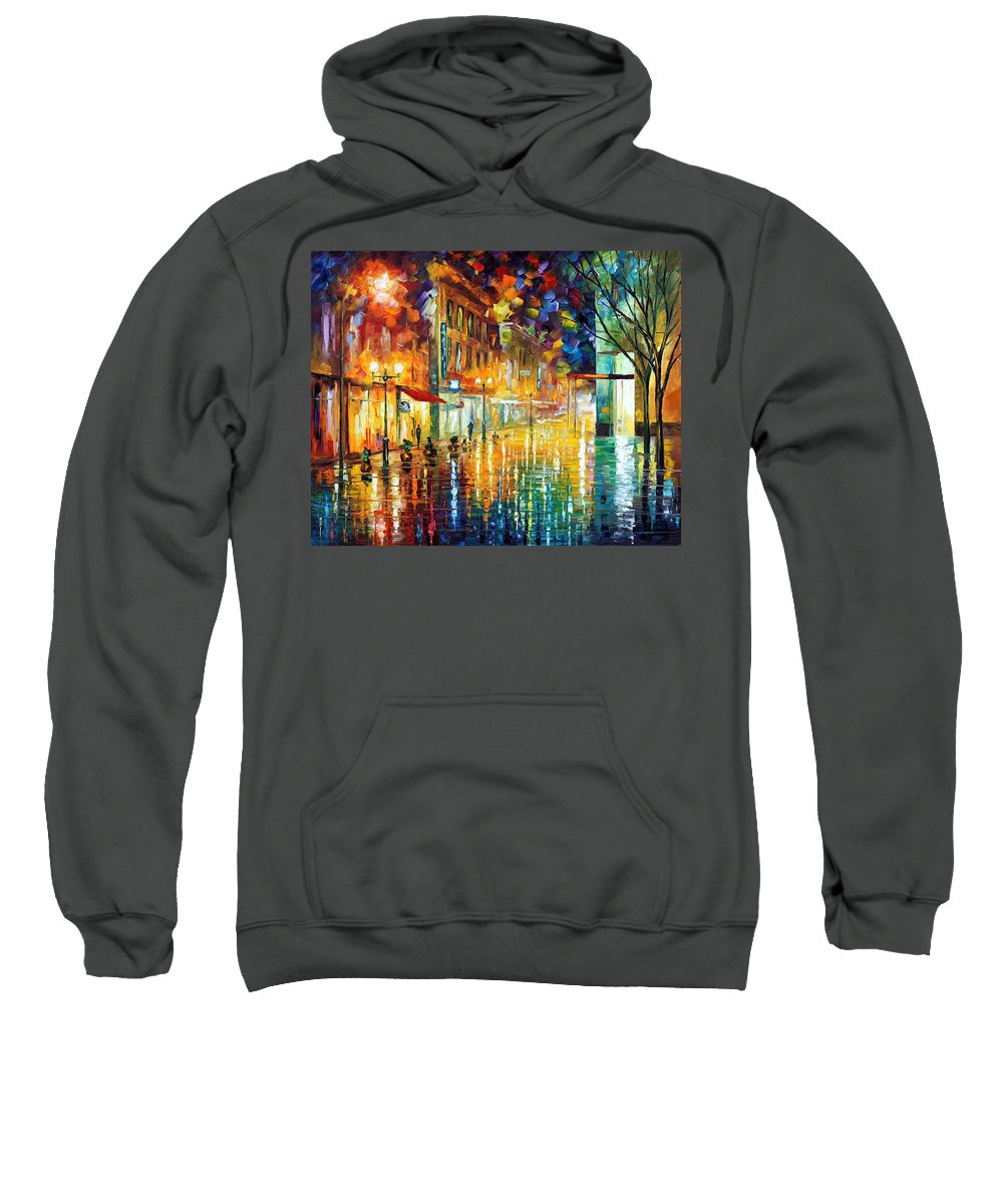 Afremov Sweatshirt featuring the painting Scent Of Rain by Leonid Afremov