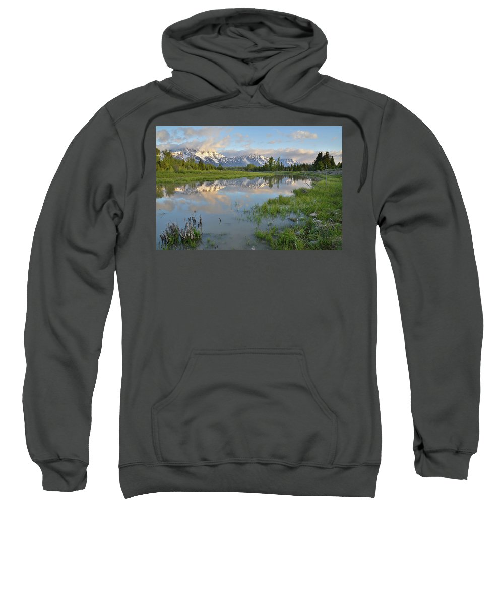 Grand Teton National Park Sweatshirt featuring the photograph Schwabacher Landing Morning by Ray Mathis