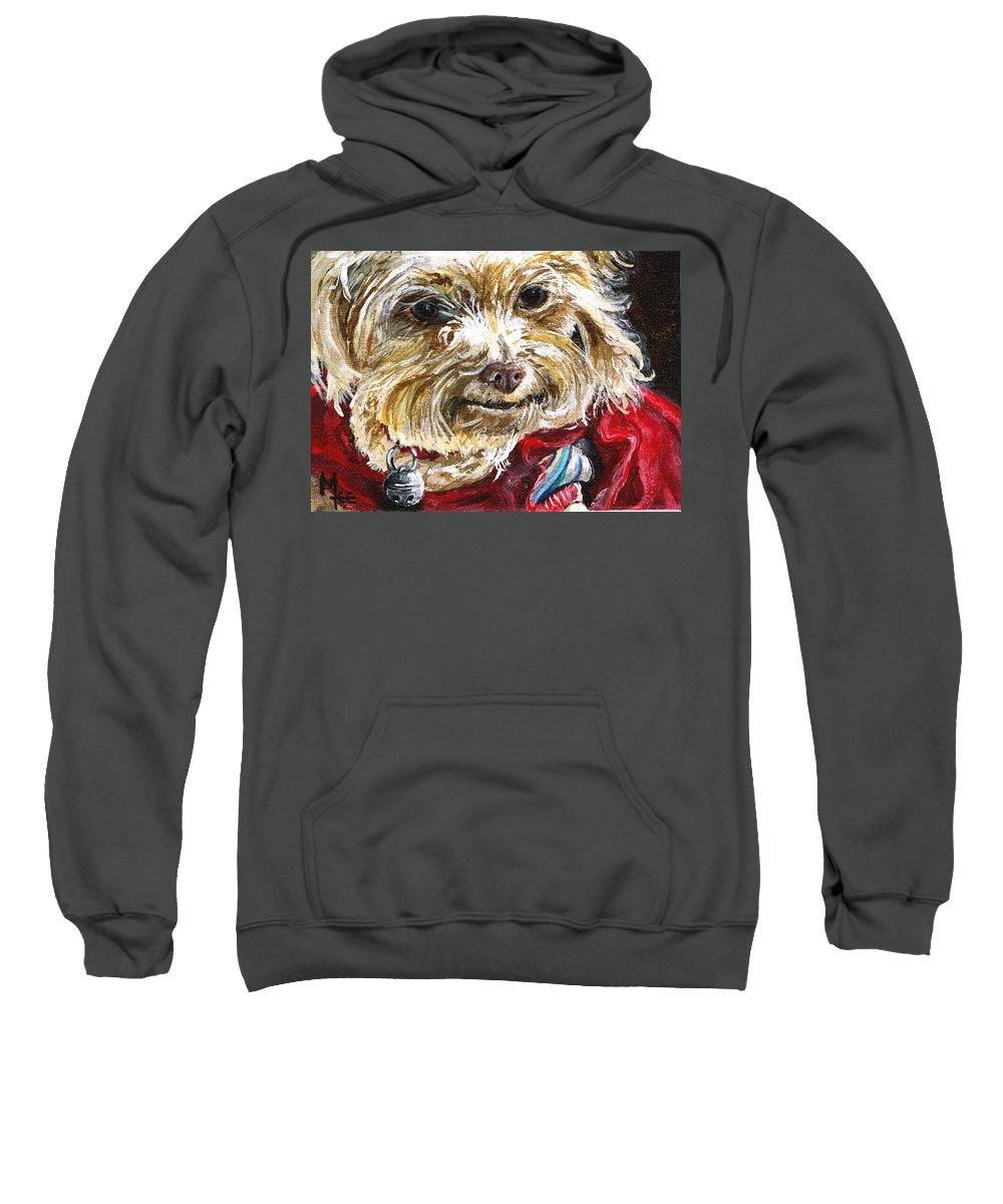 Charity Sweatshirt featuring the painting Scooter From Muttville by Mary-Lee Sanders